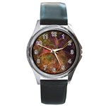 Abstract Colorful Art Design Round Metal Watch Front