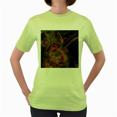 Abstract Colorful Art Design Women s Green T Shirt