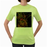 Abstract Colorful Art Design Women s Green T-Shirt Front