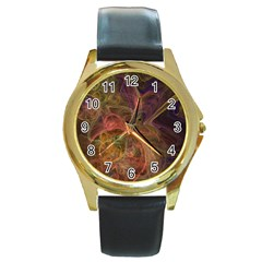 Abstract Colorful Art Design Round Gold Metal Watch