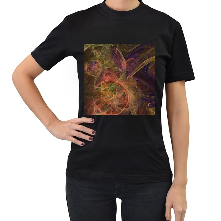 Abstract Colorful Art Design Women s T-Shirt (Black)
