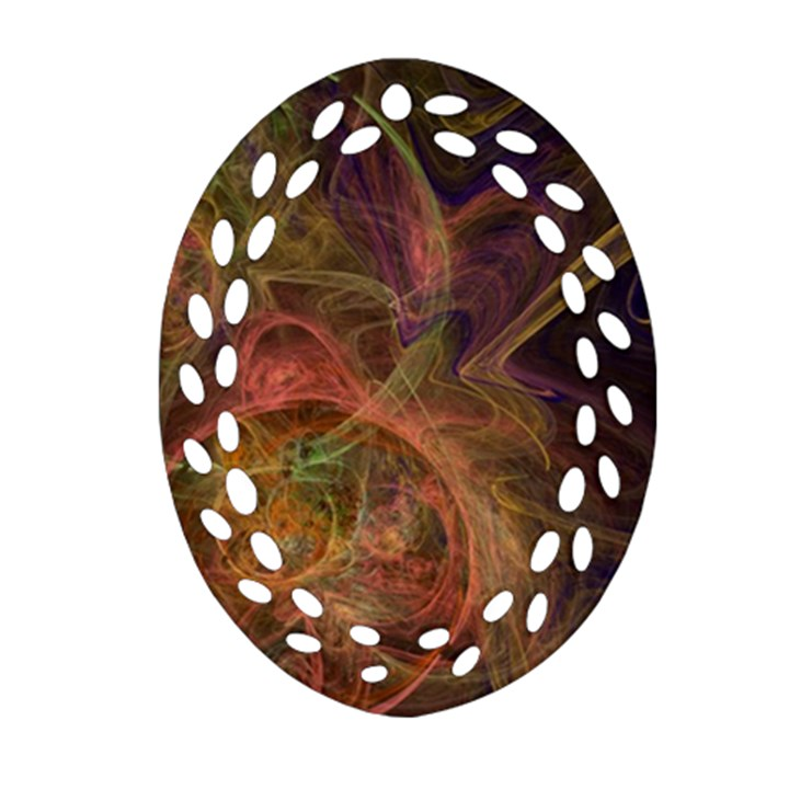 Abstract Colorful Art Design Oval Filigree Ornament (Two Sides)