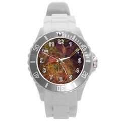 Abstract Colorful Art Design Round Plastic Sport Watch (l) by Nexatart