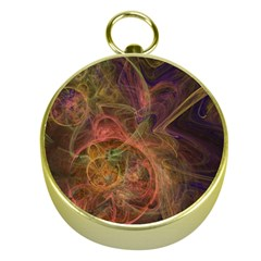 Abstract Colorful Art Design Gold Compasses