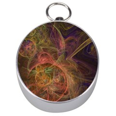 Abstract Colorful Art Design Silver Compasses