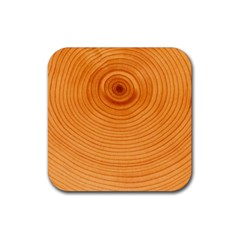Rings Wood Line Rubber Square Coaster (4 Pack)