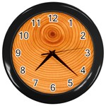 Rings Wood Line Wall Clock (Black) Front