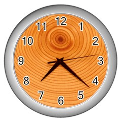 Rings Wood Line Wall Clock (silver)