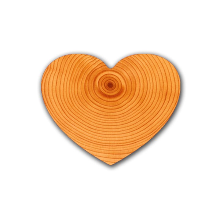 Rings Wood Line Rubber Coaster (Heart)