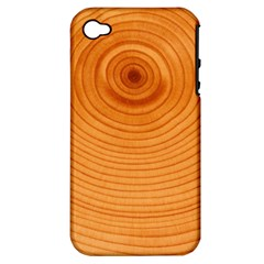 Rings Wood Line Apple Iphone 4/4s Hardshell Case (pc+silicone)
