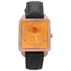 Rings Wood Line Rose Gold Leather Watch