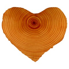 Rings Wood Line Large 19  Premium Flano Heart Shape Cushions