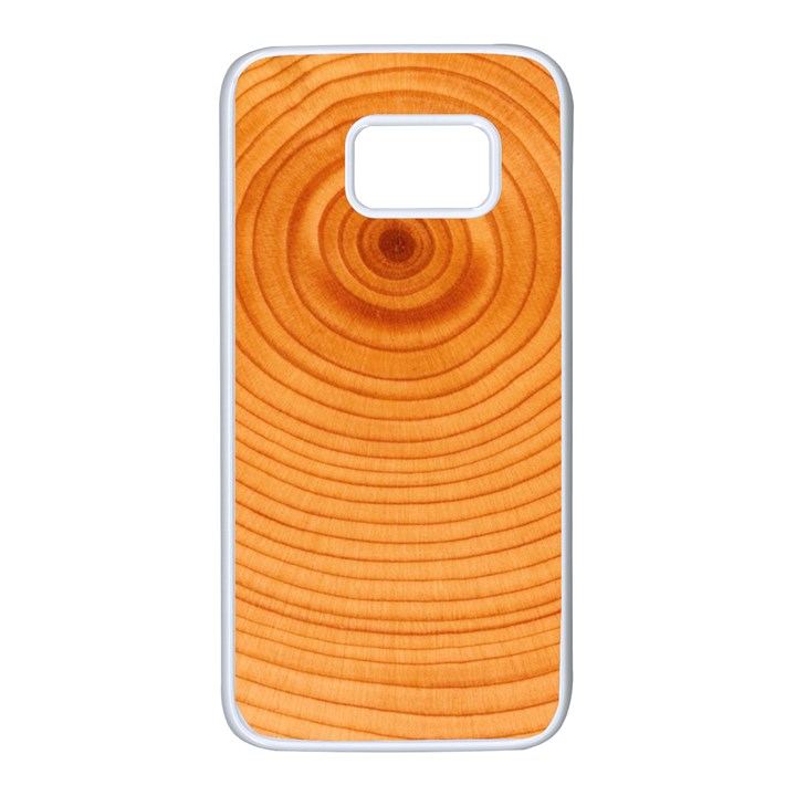 Rings Wood Line Samsung Galaxy S7 White Seamless Case