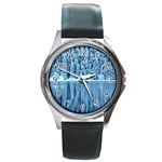 Snowy Forest Reflection Lake Round Metal Watch Front