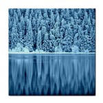 Snowy Forest Reflection Lake Tile Coasters Front