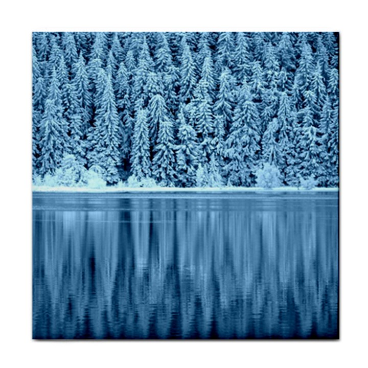 Snowy Forest Reflection Lake Tile Coasters
