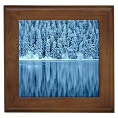 Snowy Forest Reflection Lake Framed Tiles by Alisyart