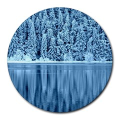 Snowy Forest Reflection Lake Round Mousepads by Alisyart