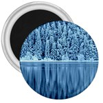 Snowy Forest Reflection Lake 3  Magnets Front