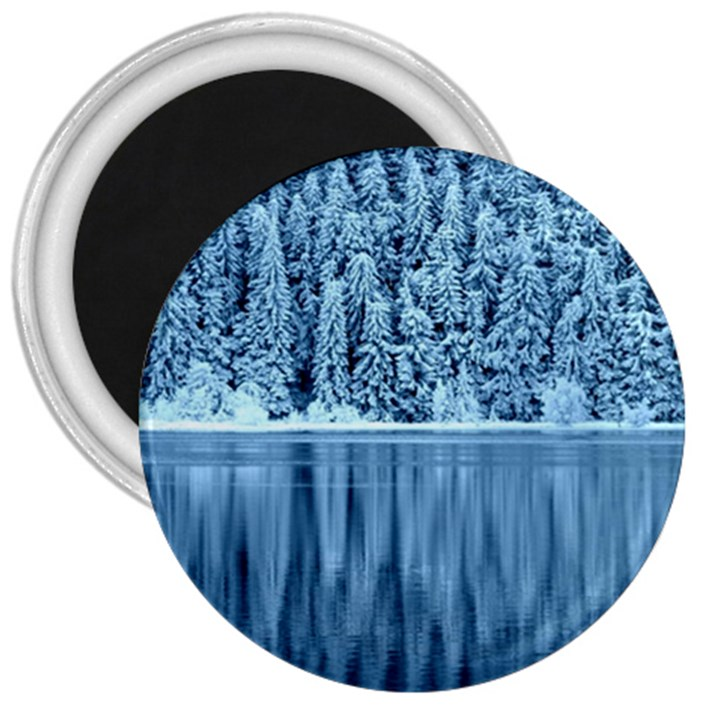 Snowy Forest Reflection Lake 3  Magnets