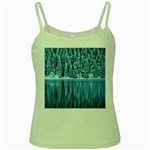 Snowy Forest Reflection Lake Green Spaghetti Tank Front