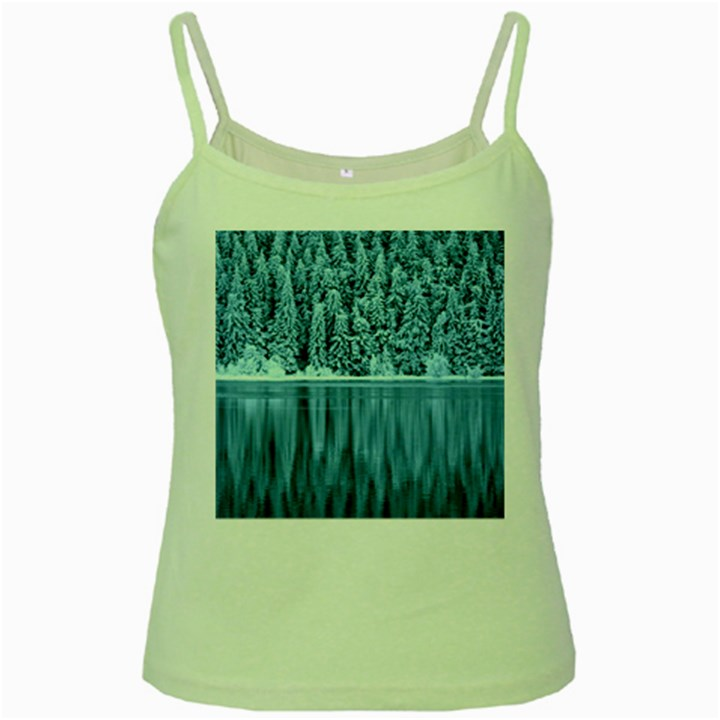 Snowy Forest Reflection Lake Green Spaghetti Tank