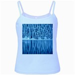 Snowy Forest Reflection Lake Baby Blue Spaghetti Tank Front