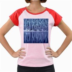 Snowy Forest Reflection Lake Women s Cap Sleeve T Shirt