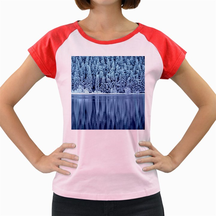 Snowy Forest Reflection Lake Women s Cap Sleeve T-Shirt