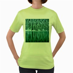 Snowy Forest Reflection Lake Women s Green T Shirt