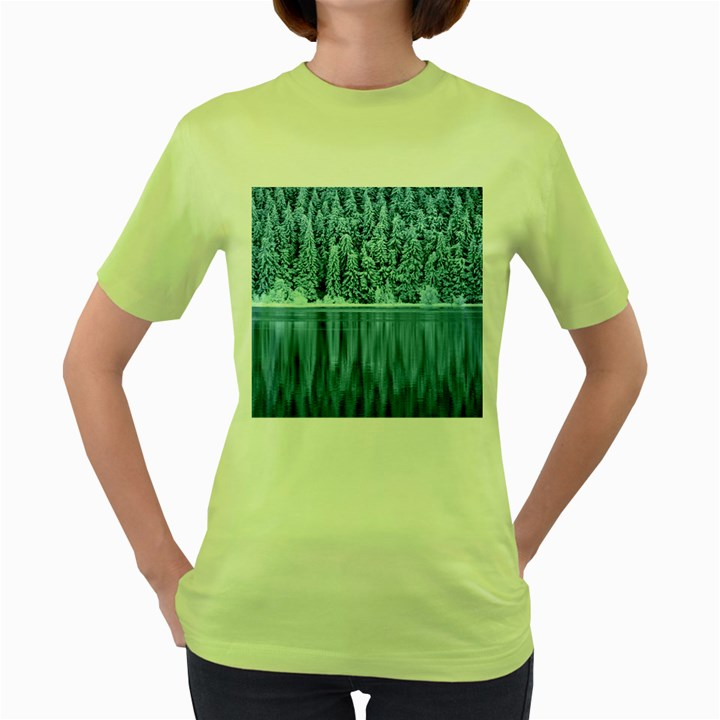 Snowy Forest Reflection Lake Women s Green T-Shirt