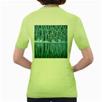 Snowy Forest Reflection Lake Women s Green T-Shirt Back