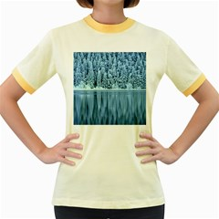 Snowy Forest Reflection Lake Women s Fitted Ringer T Shirt