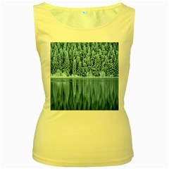 Snowy Forest Reflection Lake Women s Yellow Tank Top