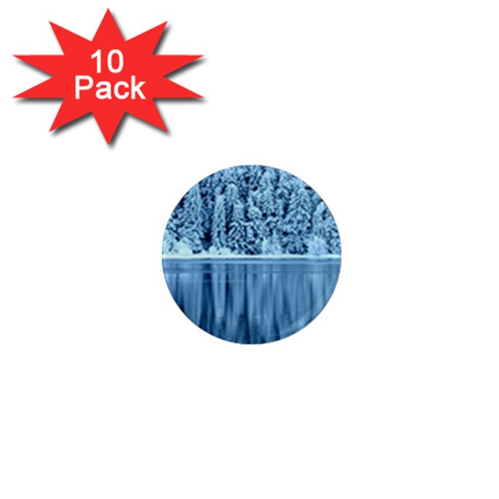 Snowy Forest Reflection Lake 1  Mini Magnet (10 pack)