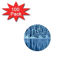 Snowy Forest Reflection Lake 1  Mini Buttons (100 Pack)  by Alisyart