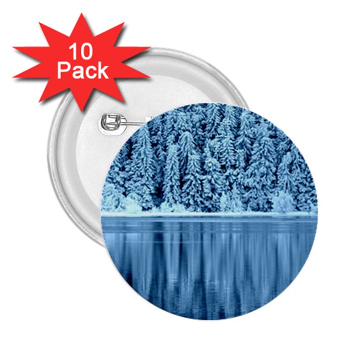 Snowy Forest Reflection Lake 2.25  Buttons (10 pack)