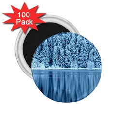 Snowy Forest Reflection Lake 2 25  Magnets (100 Pack)