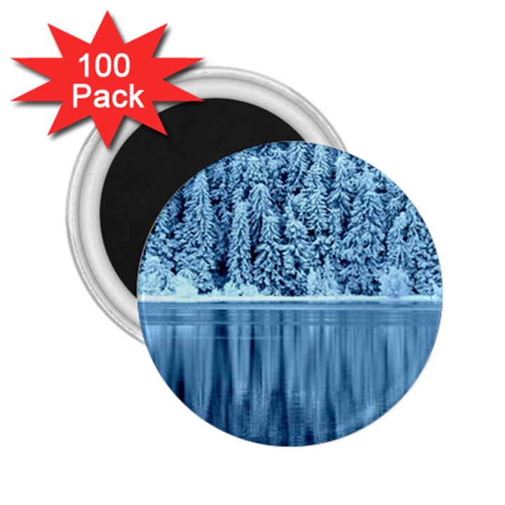 Snowy Forest Reflection Lake 2.25  Magnets (100 pack)