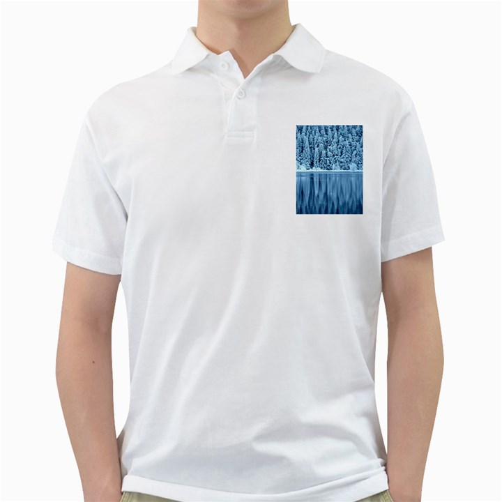 Snowy Forest Reflection Lake Golf Shirt