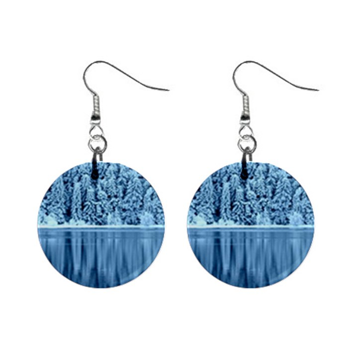 Snowy Forest Reflection Lake Mini Button Earrings