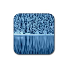 Snowy Forest Reflection Lake Rubber Coaster (square)  by Alisyart