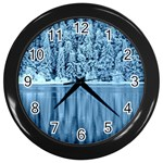 Snowy Forest Reflection Lake Wall Clock (Black) Front