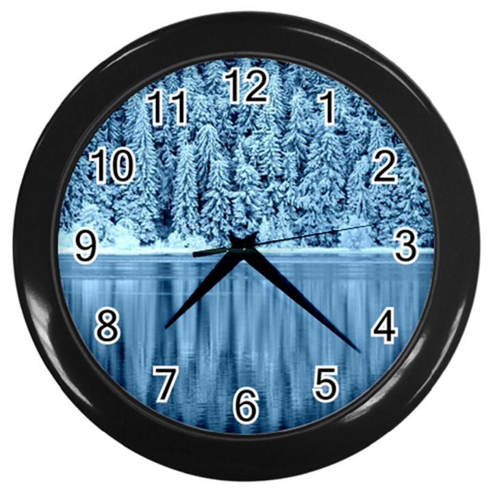 Snowy Forest Reflection Lake Wall Clock (Black)