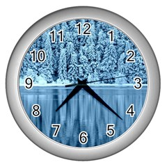 Snowy Forest Reflection Lake Wall Clock (silver)