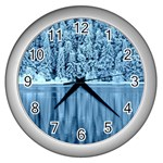 Snowy Forest Reflection Lake Wall Clock (Silver) Front