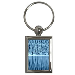 Snowy Forest Reflection Lake Key Chains (rectangle)  by Alisyart