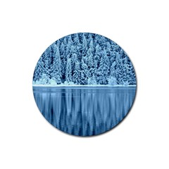 Snowy Forest Reflection Lake Rubber Coaster (round)  by Alisyart