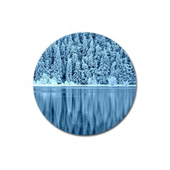Snowy Forest Reflection Lake Magnet 3  (round)