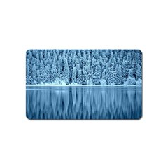Snowy Forest Reflection Lake Magnet (name Card) by Alisyart